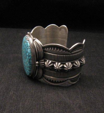 Image 4 of Navajo Indian Delbert Gordon Kingman Turquoise Silver Bracelet