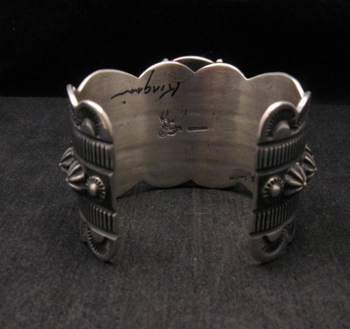 Image 5 of Navajo Indian Delbert Gordon Kingman Turquoise Silver Bracelet