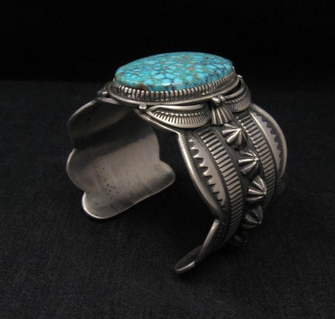 Image 6 of Navajo Indian Delbert Gordon Kingman Turquoise Silver Bracelet