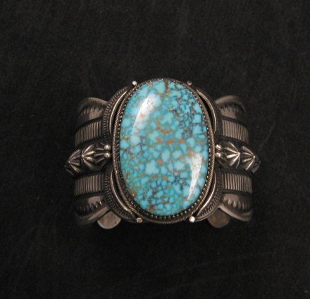 Image 7 of Navajo Indian Delbert Gordon Kingman Turquoise Silver Bracelet