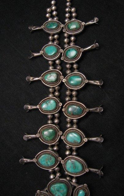 Image 3 of Heavy Vintage Native American Navajo Turquoise Squash Blossom Necklace &Bracelet