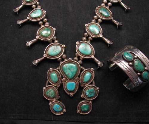 Image 4 of Heavy Vintage Native American Navajo Turquoise Squash Blossom Necklace &Bracelet
