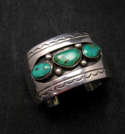 Image 5 of Heavy Vintage Native American Navajo Turquoise Squash Blossom Necklace &Bracelet