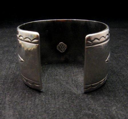 Image 6 of Heavy Vintage Native American Navajo Turquoise Squash Blossom Necklace &Bracelet