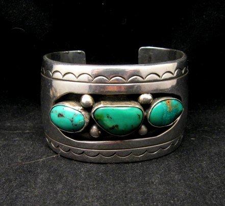 Image 7 of Heavy Vintage Native American Navajo Turquoise Squash Blossom Necklace &Bracelet