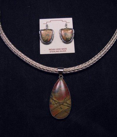 Image 3 of Navajo Native American Red Creek Jasper Pendant, Evangie Willie