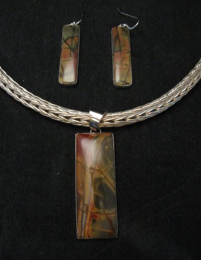 Image 4 of Navajo Indian Red Creek Jasper Bracelet, Evangie Willie