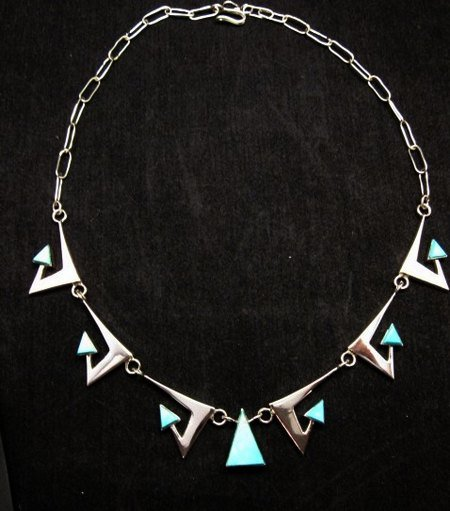Image 3 of Broken Arrow Necklace & Earrings, Turquoise, Navajo, Ronnie Henry