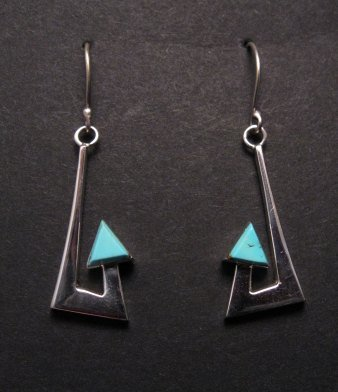 Image 4 of Broken Arrow Necklace & Earrings, Turquoise, Navajo, Ronnie Henry