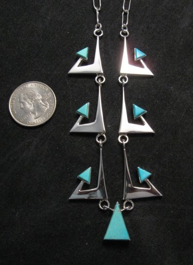 Image 5 of Broken Arrow Necklace & Earrings, Turquoise, Navajo, Ronnie Henry