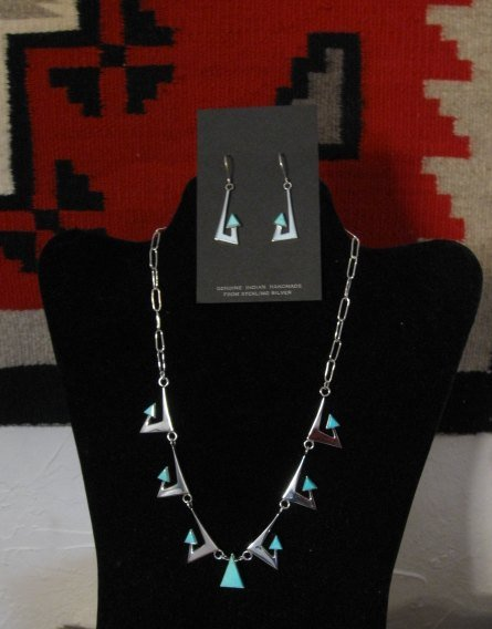 Image 6 of Broken Arrow Necklace & Earrings, Turquoise, Navajo, Ronnie Henry