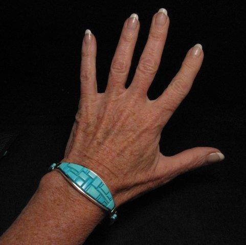 Image 7 of Fabulous Navajo Turquoise Inlay Bracelet, Earl Plummer