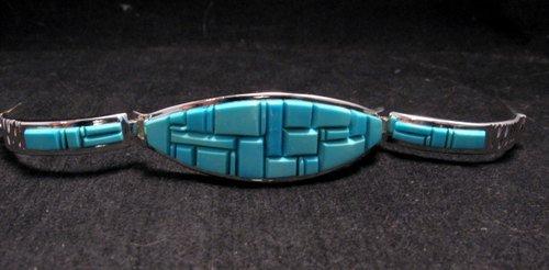 Image 9 of Fabulous Navajo Turquoise Inlay Bracelet, Earl Plummer