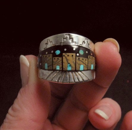 Image 4 of Merle House - Navajo - Multigem Inlaid Pueblo Night Sky Ring sz13