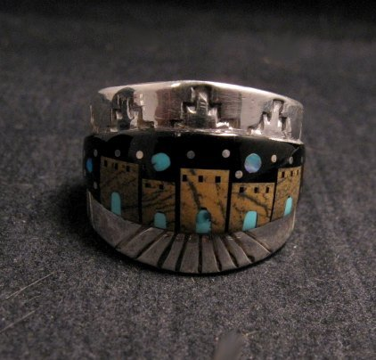 Image 5 of Merle House - Navajo - Multigem Inlaid Pueblo Night Sky Ring sz13