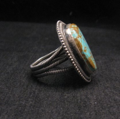 Image 3 of Navajo Number 8 Turquoise Silver Ring Sz11-1/2, Rick Martinez