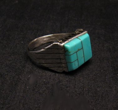 Image 3 of Native American Navajo Turquoise Inlay Sterling Silver Ring Sz12-1/2