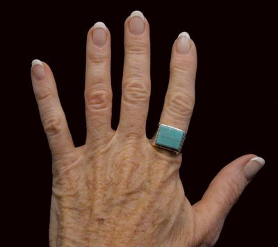 Image 4 of Native American Navajo Turquoise Inlay Sterling Silver Ring Sz12-1/2