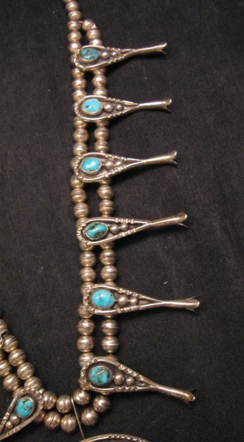 Image 5 of Navajo Old Pawn Turquoise Silver Squash Blossom Necklace