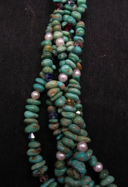 Image 3 of 5 Strand Turquoise Nugget Necklace 19'', Rudy & Mary Coriz Santo Domingo