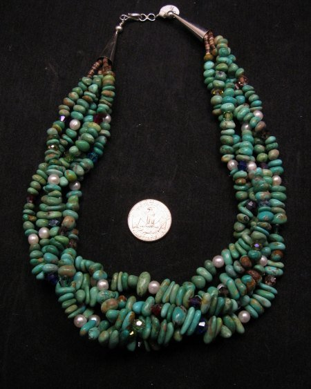 Image 4 of 5 Strand Turquoise Nugget Necklace 19'', Rudy & Mary Coriz Santo Domingo