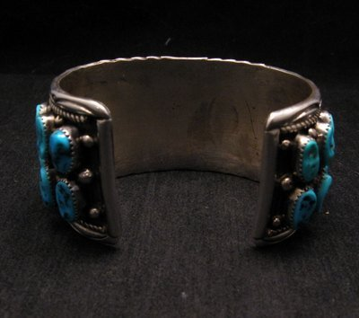 Image 4 of Big Native American Navajo Pawn Turquoise Cuff Bracelet