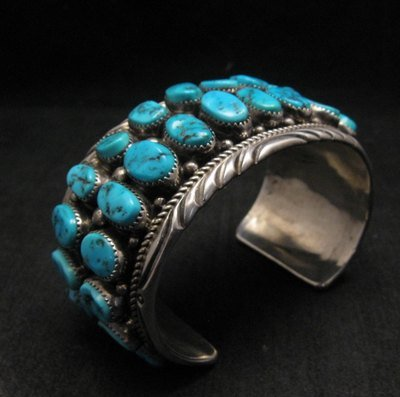 Image 5 of Big Native American Navajo Pawn Turquoise Cuff Bracelet