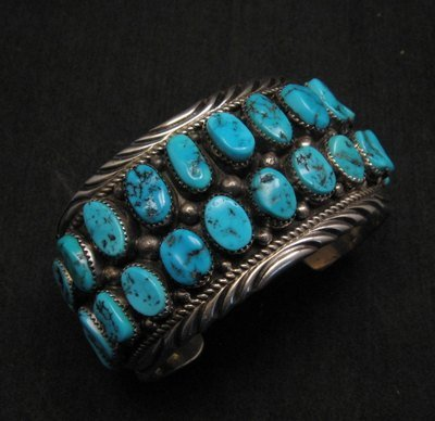 Image 6 of Big Native American Navajo Pawn Turquoise Cuff Bracelet