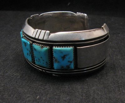 Image 3 of Dead Pawn Native American Navajo Turquoise Silver Bracelet, Benny Touchine