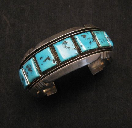 Image 5 of Dead Pawn Native American Navajo Turquoise Silver Bracelet, Benny Touchine