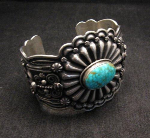 Image 3 of Darrell Cadman Navajo Kingman Birdseye Turquoise Sterling Silver Bracelet