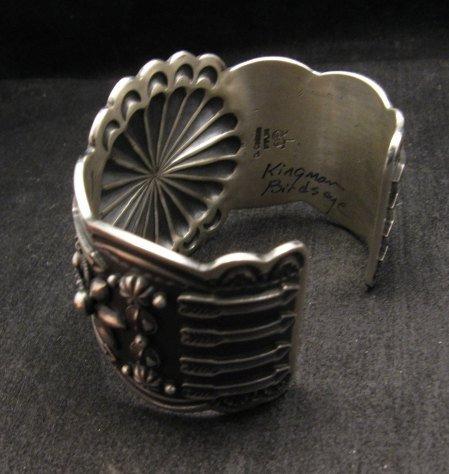 Image 4 of Darrell Cadman Navajo Kingman Birdseye Turquoise Sterling Silver Bracelet