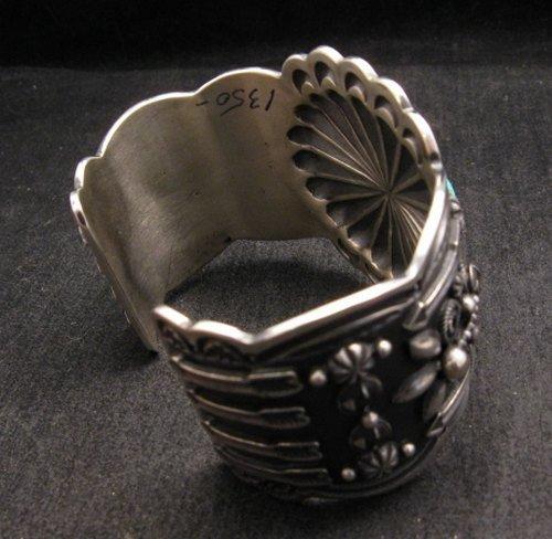 Image 5 of Darrell Cadman Navajo Kingman Birdseye Turquoise Sterling Silver Bracelet