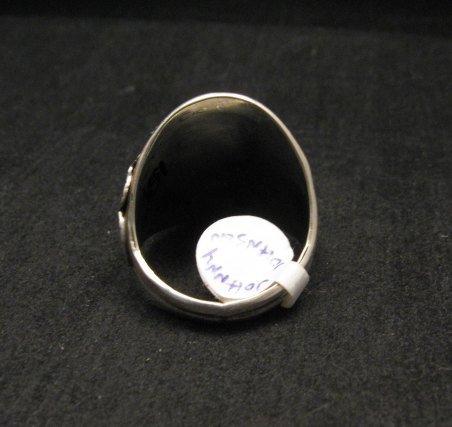 Image 3 of Native American Navajo Kingman Turquoise Silver Ring sz13