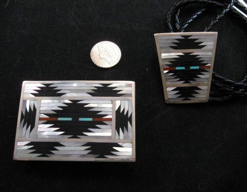 Zuni Rug Pattern Inlay Buckle & Bolo Set, Charlotte Dishta