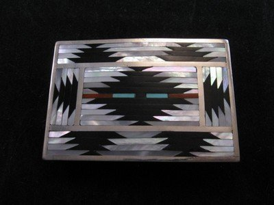 Image 1 of Zuni Rug Pattern Inlay Buckle & Bolo Set, Charlotte Dishta