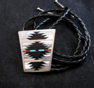 Image 2 of Zuni Rug Pattern Inlay Buckle & Bolo Set, Charlotte Dishta