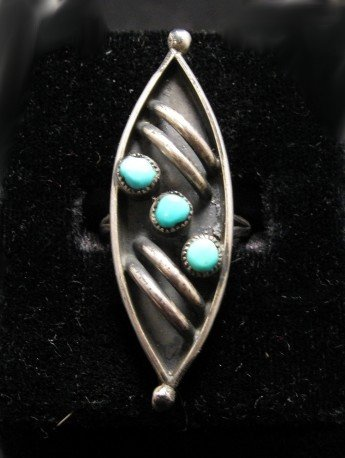 VINTAGE NATIVE AMERICAN TURQUOISE RING SZ6-1/2, SZ7-1/2, SZ8-1/2