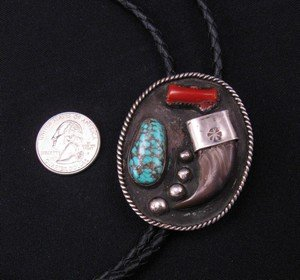 Image 3 of Vintage 1970'S Native American Claw Turquoise Coral Silver Bolo