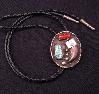 Image 1 of Vintage 1970'S Native American Claw Turquoise Coral Silver Bolo