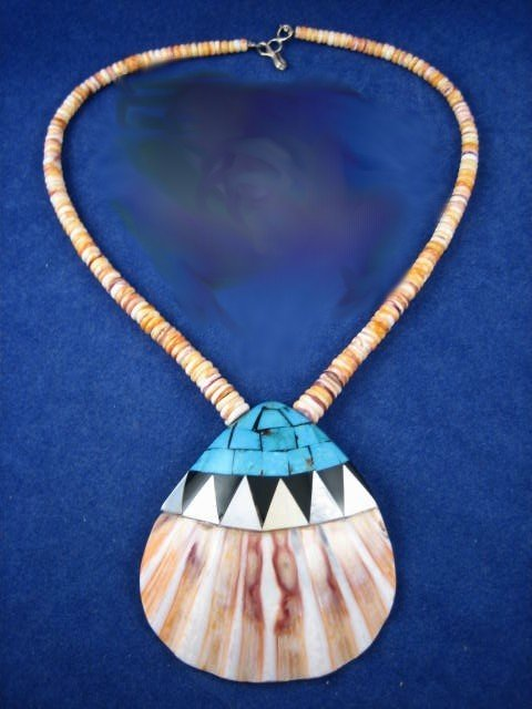 Image 0 of Santo Domingo Turquoise Inlaid Shell Necklace, Cliffton Aguilar