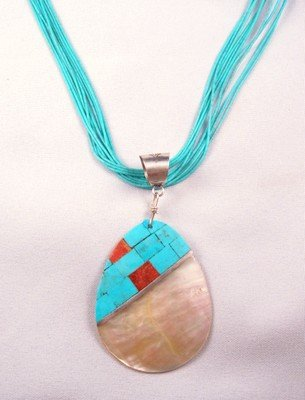 Image 1 of Santo Domingo Turquoise Inlaid Shell Pendant, Veronica Tortalita