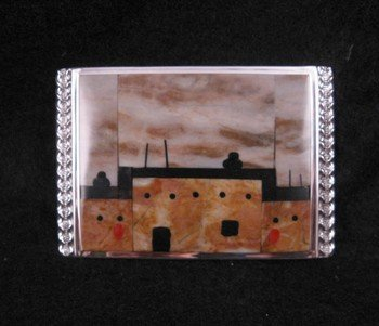 Image 2 of Gilbert Calavaza Native American Zuni Pueblo Inlay Silver Belt Buckle