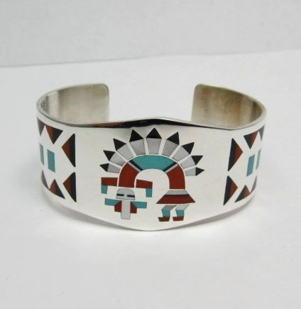 Image 0 of Fred & Lolita Natachu Zuni Rainbow Man Yei Inlay Silver Bracelet