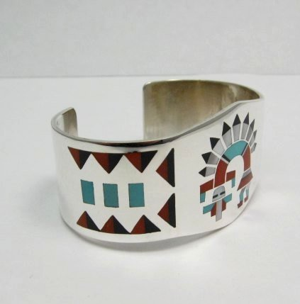 Image 1 of Fred & Lolita Natachu Zuni Rainbow Man Yei Inlay Silver Bracelet
