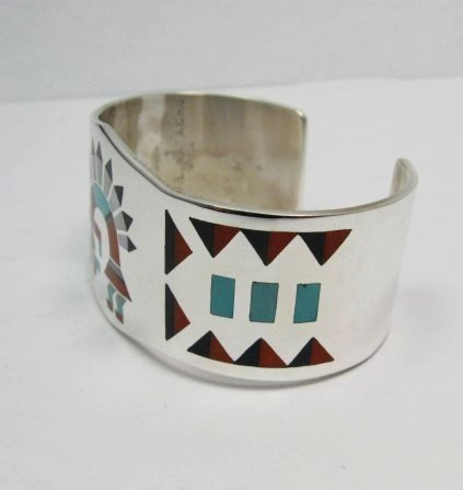 Image 2 of Fred & Lolita Natachu Zuni Rainbow Man Yei Inlay Silver Bracelet