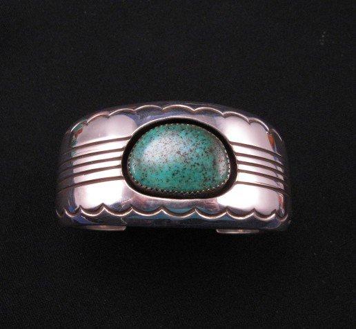 Gene & Martha Jackson, Navajo, Turquoise Silver Cuff Bracelet