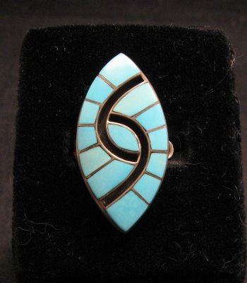 Image 0 of Amy Quandelacy ~ Zuni ~ Turquoise Inlay Sterling Silver Ring sz7-1/2