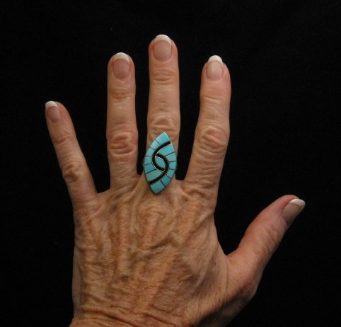 Image 2 of Amy Quandelacy ~ Zuni ~ Turquoise Inlay Sterling Silver Ring sz7-1/2