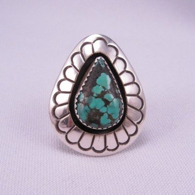 Gene & Martha Jackson Navajo Turquoise Silver Shadowbox Ring Sz7